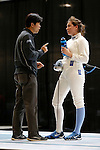 25 MAR 2016:  Princeton assistant coach Seoung Woo Lee has a word with Jackie Dubrovich during her match in the women's foil semifinal at the Division I Women's Fencing Championship held at the Gosman Sports and Convention Center in Waltham, MA.   Damian Strohmeyer/NCAA Photos