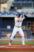 Charlotte Stone Crabs left fielder Jake Fraley (17) at bat during a game against the Bradenton Marauders on August 6, 2018 at Charlotte Sports Park in Port Charlotte, Florida.  Charlotte defeated Bradenton 2-1.  (Mike Janes/Four Seam Images)