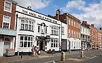Georgian buildings line the High Street of Pershore, Worcestershire, England