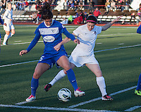 In a National Women's Soccer League Elite (NWSL) match, the Boston Breakers and  Washington Spirit drew 1-1, at the Dilboy Stadium on April 14, 2012.  Washington Spirit midfielder Diane Matheson (8) challenges Boston Breakers midfielder Jo Dragotta (25) for the ball close to the Breaker's goal