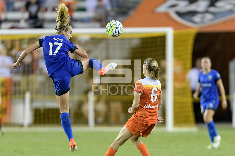 Houston, TX - Sunday Sept. 25, 2016: Beverly Yanez, Morgan Brian during a regular season National Women's Soccer League (NWSL) match between the Houston Dash and the Seattle Reign FC at BBVA Compass Stadium.