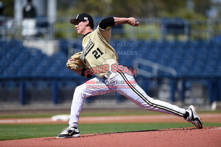 Vanderbilt Commodores pitcher John Kilichowski (21) delivers a pitch during a game against the Indiana State Sycamores on February 21, 2015 at Charlotte Sports Park in Port Charlotte, Florida.  Indiana State defeated Vanderbilt 8-1.  (Mike Janes/Four Seam Images)