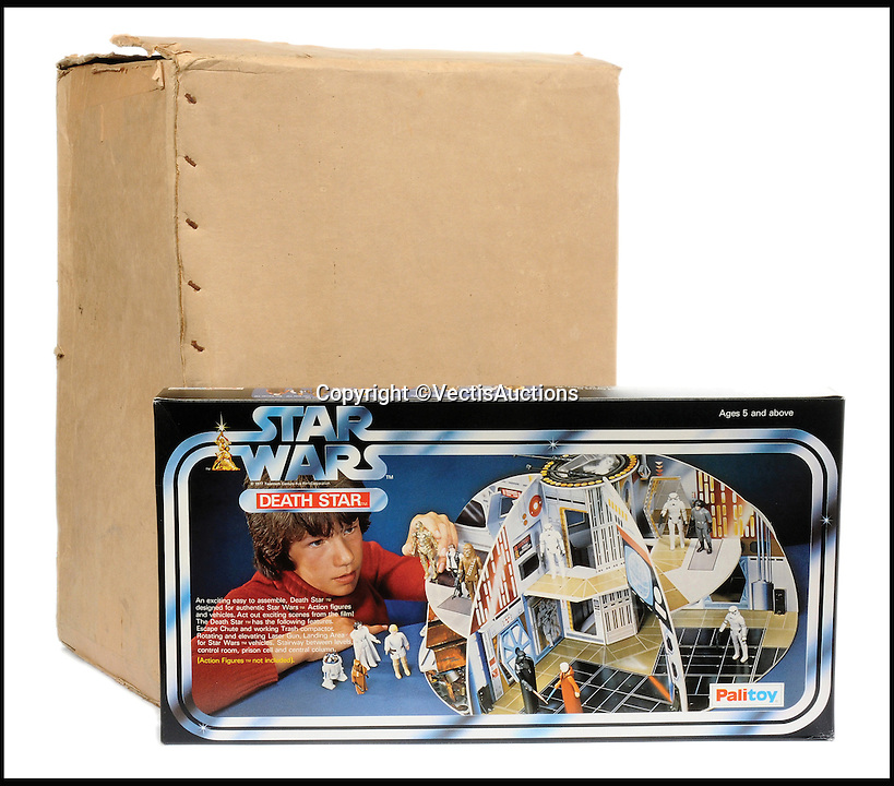 BNPS.co.uk (01202 558833)<br /> Pic: Vectis/BNPS<br /> <br /> Palitoy Star Wars Death Star with original trade box &pound;2,640.<br /> <br /> A tiny plastic rocket from a Star Wars action figure has sold for almost &pound;2,000 as part of a huge &pound;160,000 sale of rare toys relating to the film franchise.<br /> <br /> The red missile measures just 28mm long and was attached to the back of a prototype figure of bounty hunter Boba Fett.<br /> <br /> A complete prototype Boba Fett can sell for &pound;13,000 but thanks to a letter of authentication and grading by the Action Figure Authority (AFA), the small rocket made &pound;1,920 by itself at auction.<br /> <br /> It was one of almost 700 Star Wars lots that sold for &pound;160,000, with many toys that originally sold for &pound;1.50 achieving four-figure sums.<br /> <br /> With the release of Star Wars:The Force Awakens imminent, interest in memorabilia from the franchise has never been higher.