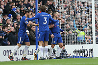 Eden Hazard of Chelsea (right) celebrates after he scores his team's third goal of the game to make the score 3-1 during the Premier League match between Chelsea and Newcastle United at Stamford Bridge, London, England on 2 December 2017. Photo by David Horn.