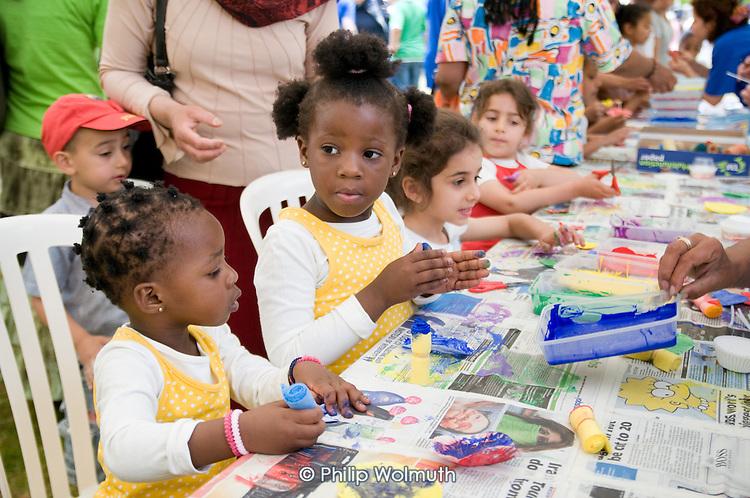 Westminster Adult Education Service (WAES) children's activity tent at Westbourne Festival, Paddington, London.