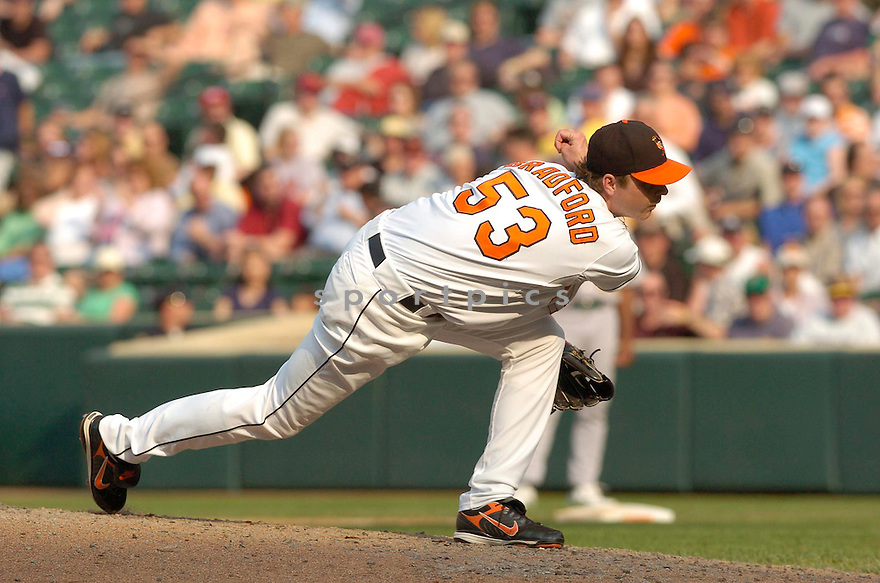 CHAD BRADFORD, of the Baltimore Orioles, in action during the  Orioles game against the Oakland A's in Baltimore Maryland on April 24, 2007...A's win 4-2...DAVID DUROCHIK / SPORTPICS..