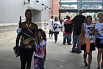 Fans enter U.S. Steel Yard Stadium before a hometown tribute to Michael Jackson begins in Gary, Indiana on July 10, 2009.  Jackson died on June 25 at a Los Angeles hospital.