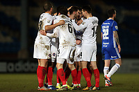 Charlee Adams of Dagenham  is congratulated after scoring the opening goal during FC Halifax Town vs Dagenham & Redbridge, Vanarama National League Football at The Shay on 13th March 2018