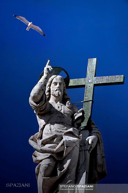 Statue of Jesus St Peter's Basilica at the Vatican.Pope Francis special Jubilee Audience at Saint Peter's Square at the Vatican on March 12, 2016.