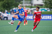 Boston, MA - Saturday July 01, 2017: Megan Oyster and Francisca Ordega during a regular season National Women's Soccer League (NWSL) match between the Boston Breakers and the Washington Spirit at Jordan Field.
