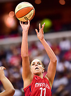 Washington, DC - June 15, 2018: Washington Mystics guard Elena Delle Donne (11) shoots a jump shot during game between the Washington Mystics and Los Angeles Sparks at the Capital One Arena in Washington, DC. (Photo by Phil Peters/Media Images International)