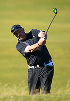 Sir Ian Botham hits an approach during Round 1 of the 2015 Alfred Dunhill Links Championship at the Old Course, St Andrews, in Fife, Scotland on 1/10/15.<br /> Picture: Richard Martin-Roberts | Golffile