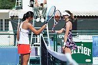 25th July 2020, Villeneuve-Loubet , France;   Harmony Tan France congratulated by the fnalist Alize Cornet France touch raquest after the Elite FFT Tennis Challenge tournament;