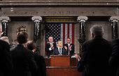 United States President Barack Obama delivers his State of the Union address on Capitol Hill in Washington, Tuesday, January 25, 2011. Vice President Joe Biden and House Speaker John Boehner of Ohio applaud at rear. .Credit: Pablo Martinez Monsivais / Pool via CNP