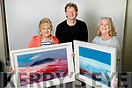 Mary Fleming, Inch  and Aeda Sugrue, Tralee winners of the Kerry's Eye, John Hurley painting competition, pictured with artist John Hurley.