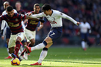 Son Heung-Min of Tottenham Hotspur and DeAndre Yedlin of Newcastle United during Tottenham Hotspur vs Newcastle United, Premier League Football at Wembley Stadium on 2nd February 2019