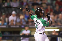 Montrell Marshall (26) of the Dayton Dragons follows through on his swing against the Bowling Green Hot Rods at Fifth Third Field on June 8, 2018 in Dayton, Ohio. The Hot Rods defeated the Dragons 11-4.  (Brian Westerholt/Four Seam Images)