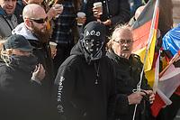 Ca. 1000 Neonazis, Skinheads und Hooligans demonstrierten am Tag der Deutschen Einheit in Berlin unter dem Motto &quot;Wir fuer Deutschand - Merkel muss weg&quot; in Berlin.<br /> IM Bild: Mitglieder der Neonaziorganisation &quot;Soldiers of Odin&quot;.<br /> 3.10.2018, Berlin<br /> Copyright: Christian-Ditsch.de<br /> [Inhaltsveraendernde Manipulation des Fotos nur nach ausdruecklicher Genehmigung des Fotografen. Vereinbarungen ueber Abtretung von Persoenlichkeitsrechten/Model Release der abgebildeten Person/Personen liegen nicht vor. NO MODEL RELEASE! Nur fuer Redaktionelle Zwecke. Don't publish without copyright Christian-Ditsch.de, Veroeffentlichung nur mit Fotografennennung, sowie gegen Honorar, MwSt. und Beleg. Konto: I N G - D i B a, IBAN DE58500105175400192269, BIC INGDDEFFXXX, Kontakt: post@christian-ditsch.de<br /> Bei der Bearbeitung der Dateiinformationen darf die Urheberkennzeichnung in den EXIF- und  IPTC-Daten nicht entfernt werden, diese sind in digitalen Medien nach &sect;95c UrhG rechtlich geschuetzt. Der Urhebervermerk wird gemaess &sect;13 UrhG verlangt.]