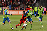 Toronto, ON, Canada - Saturday Dec. 10, 2016: Sebastian Giovinco, Cristian Roldan during the MLS Cup finals at BMO Field. The Seattle Sounders FC defeated Toronto FC on penalty kicks after playing a scoreless game.