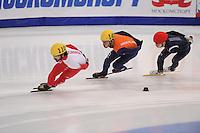 "SHORT TRACK: MOSCOW: Speed Skating Centre ""Krylatskoe"", 15-03-2015, ISU World Short Track Speed Skating Championships 2015, Superfinal 3000m, Charles HAMELIN (#110 | CAN), Sjinkie KNEGT (#148 | NED), Se Yeong PARK (#142 | KOR), ©photo Martin de Jong"