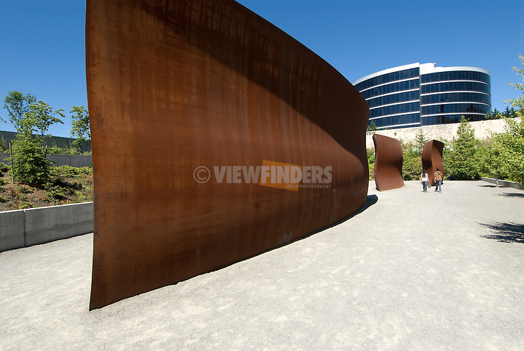 "View of artwork by Richard Serra (""Wake"") in Olympic Sculpture Park, Seattle, Washington"
