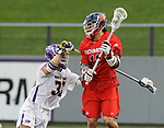 Albany's Erik Dluhy (#37) defends Richmond's Ryan Lee (#11) as UAlbany Men's Lacrosse defeats Richmond 18-9 on May 12 at Casey Stadium in the NCAA tournament first round.