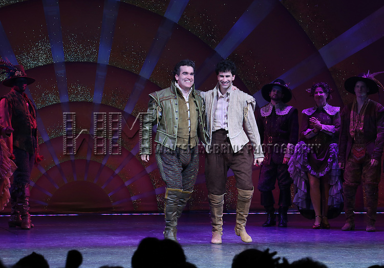 Brian d'Arcy James and John Cariani during the Broadway Opening Night Curtain Call for 'Something Rotten' at the St. James Theatre on April 22, 2015 in New York City.