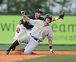 Aaron Baker (47) of the West Viginia Power slides safely into second with a double, with Greenville Drive second baseman Kenneth Roque (13) trying to make the tag in a game on May 2, 2010, at Fluor Field at the West End in Greenville, S.C.