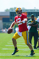 Green Bay Packers quarterback Aaron Rodgers (12) during a training camp practice on August 29, 2017 at Ray Nitschke Field in Green Bay, Wisconsin.   (Brad Krause/Krause Sports Photography)