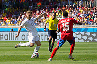 Luke Shaw of England shoots at goal