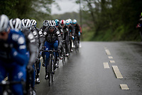 defending champion Julian ALAPHILIPPE (FRA/Deceuninck-Quick Step) escorted by his teammates at the front of the peloton<br /> <br /> 105th Liège-Bastogne-Liège 2019 (1.UWT)<br /> One day race from Liège to Liège (256km)<br /> <br /> ©kramon