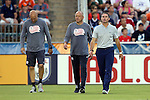 15 June 2016: New England head coach Jay Heaps (right) with assistants Tom Soehn (center) and Remi Roy (left). The Carolina RailHawks hosted the New England Revolution at WakeMed Stadium in Cary, North Carolina in a 2016 Lamar Hunt U.S. Open Cup fourth round game.