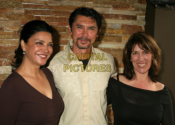 SHOHREH AGHDASHLOO, LOU DIAMOND PHILLIPS & CEDERING FOX.PEN USA and WordTheatre's 2007 Benefit Brunch at Aphrodisiac Restaurant, Los Angeles, California, USA..May 20th, 2007.half length brown top yellow shirt black goatee facial hair.CAP/ADM/BP.©Byron Purvis/AdMedia/Capital Pictures