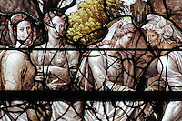 Detail of The Visitation, with Mary visiting her sister Elizabeth, from the Life of the Virgin and the Childhood of Christ grisaille stained glass window with silver and gold on white glass, 1545, by the School of Fontainebleau, in the South chapel choir of the Collegiate Church of Saint-Gervais-Saint-Protais, built 12th to 16th centuries in Gothic and Renaissance styles, in Gisors, Eure, Haute-Normandie, France. The church was consecrated in 1119 by Calixtus II but the nave was rebuilt from 1160 after a fire. The church was listed as a historic monument in 1840. Picture by Manuel Cohen