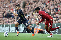 Manchester City's Sergio Aguero gets away from Liverpool's Joe Gomez<br /> <br /> Photographer Rich Linley/CameraSport<br /> <br /> The Premier League - Liverpool v Manchester City - Sunday 7th October 2018 - Anfield - Liverpool<br /> <br /> World Copyright &copy; 2018 CameraSport. All rights reserved. 43 Linden Ave. Countesthorpe. Leicester. England. LE8 5PG - Tel: +44 (0) 116 277 4147 - admin@camerasport.com - www.camerasport.com