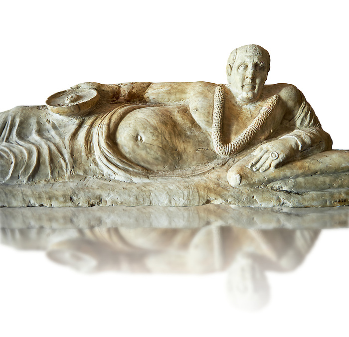 Close up of an Etruscan Hellenistic style cinerary, funreary, urn cover with a man,  National Archaeological Museum Florence, Italy, white background