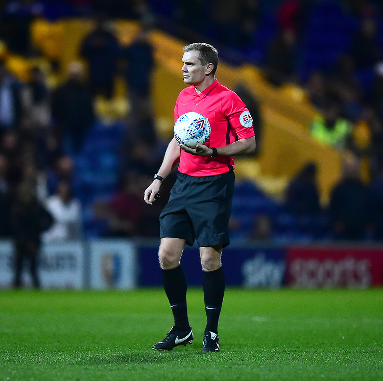 Referee Graham Scott<br /> <br /> Photographer Andrew Vaughan/CameraSport<br /> <br /> The EFL Sky Bet League Two - Mansfield Town v Lincoln City - Monday 18th March 2019 - Field Mill - Mansfield<br /> <br /> World Copyright © 2019 CameraSport. All rights reserved. 43 Linden Ave. Countesthorpe. Leicester. England. LE8 5PG - Tel: +44 (0) 116 277 4147 - admin@camerasport.com - www.camerasport.com