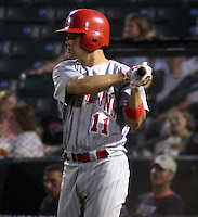 August 21, 2003:  Kevin Sefcik (11) of the Scranton Wilkes-Barre Red Barons, Class-AAA affiliate of the Philadelphia Phillies, during a International League game at Frontier Field in Rochester, NY.  Photo by:  Mike Janes/Four Seam Images