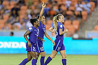 Houston, TX - Saturday June 17, 2017: Marta Vieira Da Silva celebrates her goal with her teammates during a regular season National Women's Soccer League (NWSL) match between the Houston Dash and the Orlando Pride at BBVA Compass Stadium.