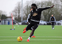 Pictured: Bafetimbi Gomis Wednesday 23 December 2015<br />Re: Swansea City FC training ahead of their West Bromwich Albion game, Fairwood, near Swansea, Wales, UK