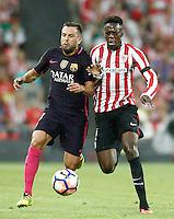 Athletic de Bilbao's Inaki Williams (r) and FC Barcelona's Jordi Alba during La Liga match. August 28,2016. (ALTERPHOTOS/Acero) /NORTEPHOTO