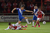 11/08/2015 Capital One Cup, First Round Fleetwood Town v Hartlepool United<br /> Carl Magnay avoids Antoni Sarcevic's challenge
