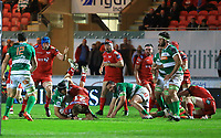 Scarlets' Aled Davies is upended in the tackle by Benetton Treviso's Francesco Minto.<br /> <br /> Photographer Dan Minto/CameraSport<br /> <br /> Guinness PRO12 Round 19 - Scarlets v Benetton Treviso - Saturday 8th April 2017 - Parc y Scarlets - Llanelli, Wales<br /> <br /> World Copyright &copy; 2017 CameraSport. All rights reserved. 43 Linden Ave. Countesthorpe. Leicester. England. LE8 5PG - Tel: +44 (0) 116 277 4147 - admin@camerasport.com - www.camerasport.com