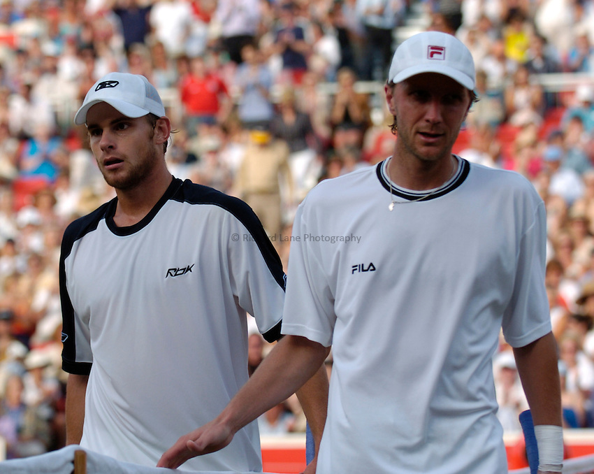 Photo: Richard Lane..The Stella Artois Championship at Queens. 08/06/2004..Andy Roddick and Karo Kucera