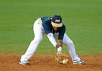 Florida International University infielder Julius Gaines (2) plays against Florida Atlantic University. FAU won the game 5-1 on March 16, 2012 at Miami, Florida.