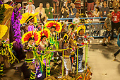 Imperatriz Leopolinense Samba School, Carnival, Rio de Janeiro, Brazil, 26th February 2017. The 'Beautiful Monster' - Belo Monstro - float. The Kayapo Indians are at the front of the float with Raoni Metuktire waving.