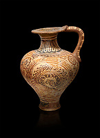 The Minoan decorated jug with elaborate design, Palaikastro,  1500-1450 BC; Heraklion Archaeological  Museum, black background