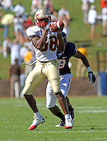 Oct 2, 2010; Charlottesville, VA, USA; Florida State Seminoles running back Jermaine Thomas (38) catches a pass in front of Virginia Cavaliers cornerback Ras-I Dowling (19) during the 2nd half of the game at Scott Stadium. Florida State won 34-14.  Photo/The Daily Progress/Andrew Shurtleff