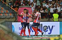MEDELLÍN-COLOMBIA, 05–06-2019: Jugadores de Atlético Junior, celebran el gol anotado a Atlético Nacional, durante partido de la fecha 6 de los cuadrangulares semifinales entre Atlético Nacional y Atlético Junior, por la Liga Águila I 2019, jugado en el estadio Atanasio Girardot de la ciudad de Medellín. / Players of Atletico Junior, celebrate the scored goal to Atlético Nacional, during a match of the 6th date of the semifinals quarters between Atletico Nacional and Atletico Junior, for the Aguila Leguaje I 2019 played at the Atanasio Girardot Stadium in Medellin city. / Photo: VizzorImage / León Monsalve / Cont.