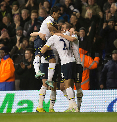 01.01.2015.  London, England. Barclays Premier League. Tottenham versus Chelsea. Tottenham players celebrate their fifth goal.